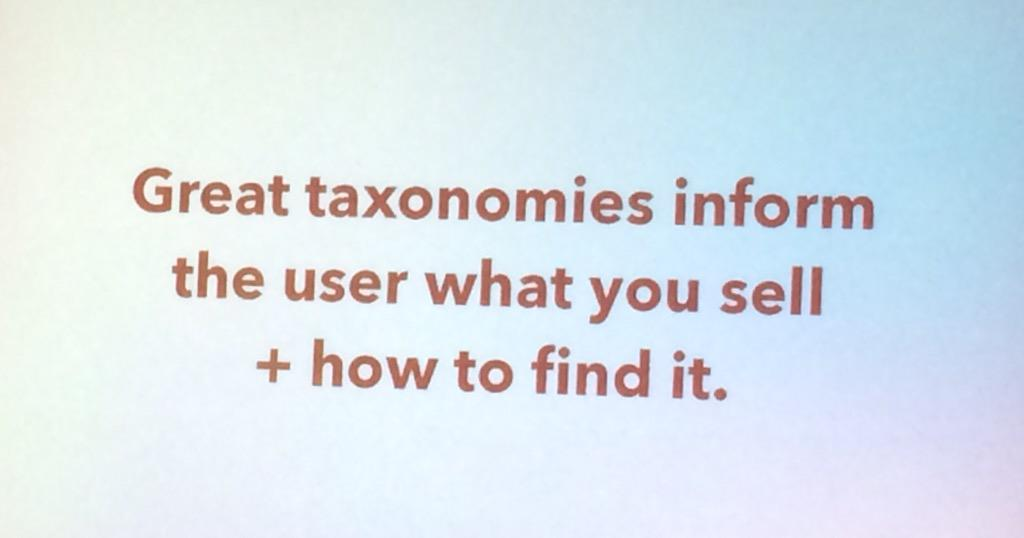 benjaminrobie: Spend time thinking about taxonomy. It will pay off. #ImagineCommerce http://t.co/BLpkrEytds