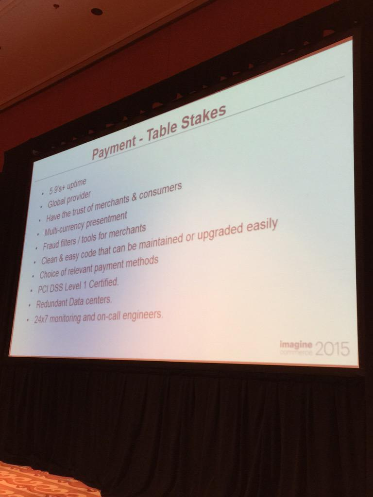 alexanderpeh: #Payment Table Stakes from @PayPal & @braintree - may seem obvious but many are overlooked #ImagineCommerce http://t.co/rXpjVtFjNM