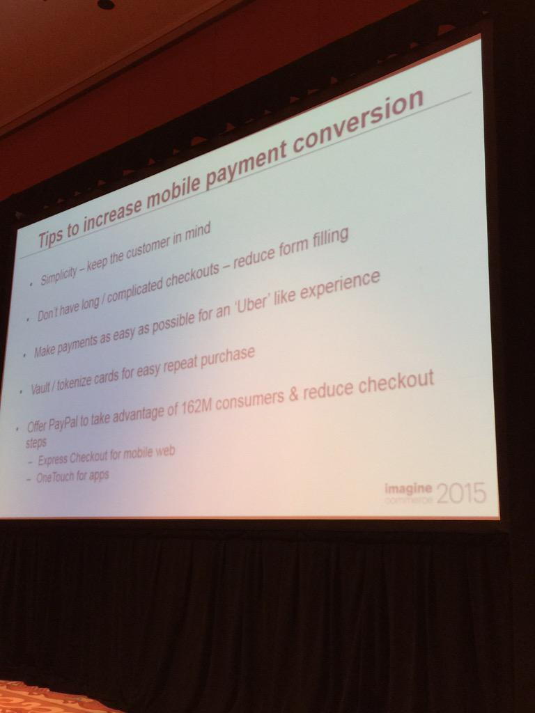 alexanderpeh: Tips to increase #mobile payment conversion from @PayPal & @braintree #ImagineCommerce #mCommerce #payments http://t.co/F0wdRLeMB3
