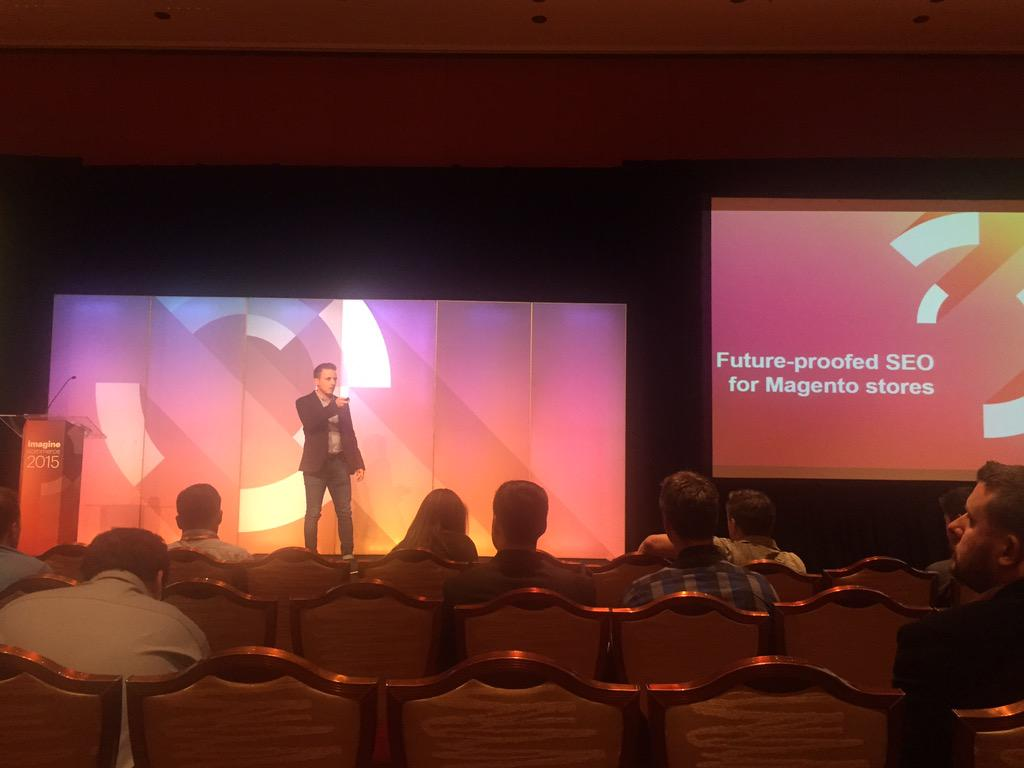 yairspitzer: @paulnrogers talking about future proofing SEO for Magneto stores. Certainly knows his stuff. #MagentoImagine http://t.co/JZl0dsgqdS