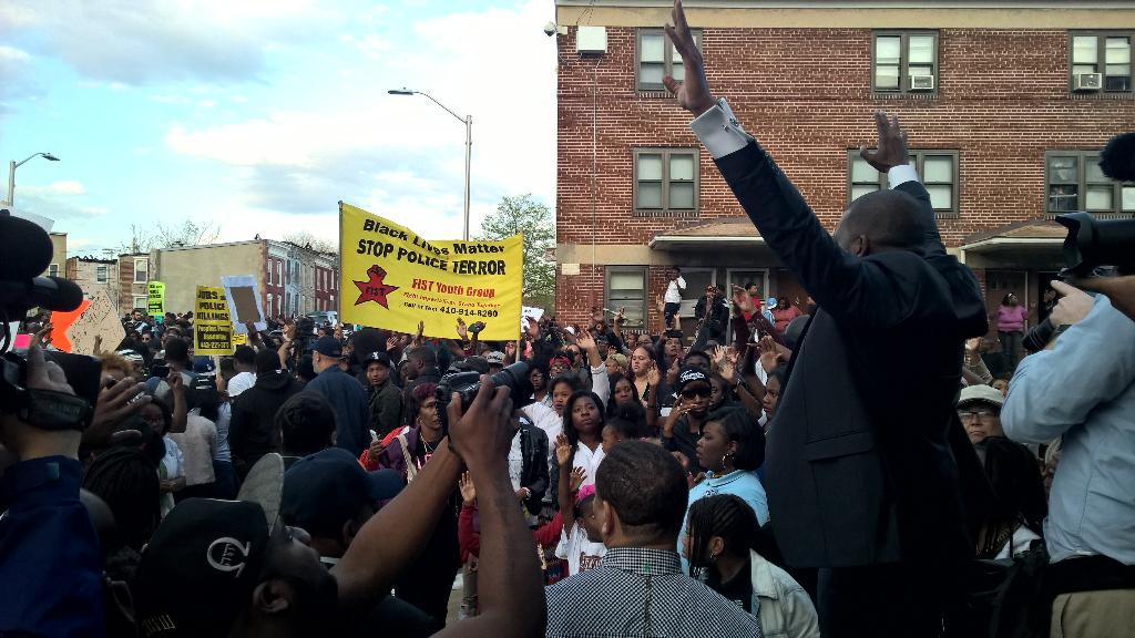 Black protesters shouting profanity for Freddie Gray
