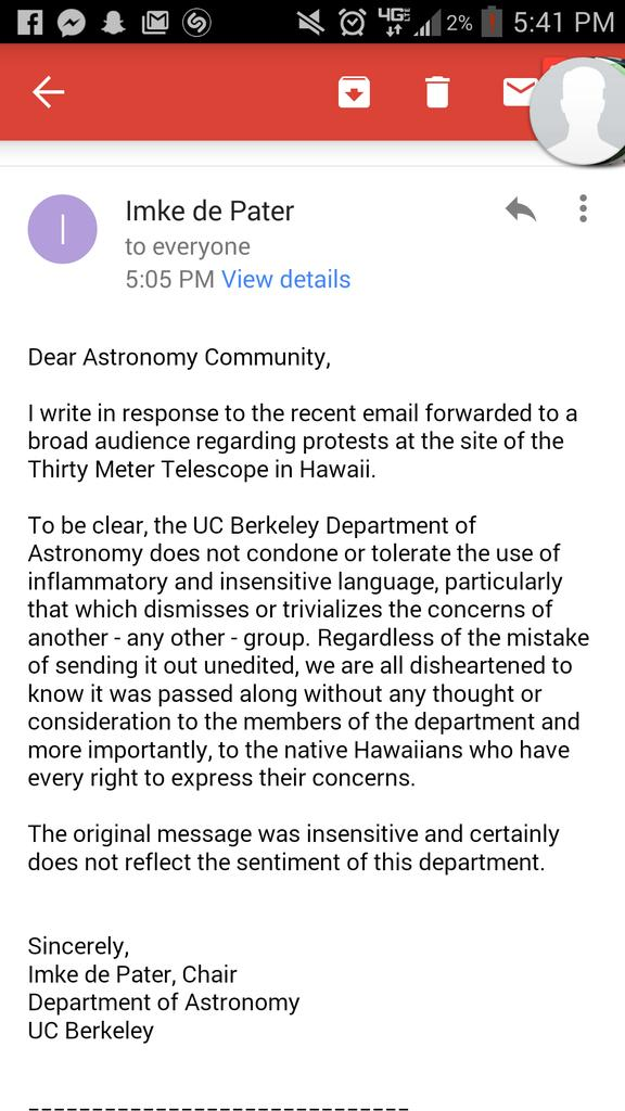 Chair of Berkeley Astronomy has responded to the e-mail sent to the department. http://t.co/j4bUBl0a0O Screenshot via @incaugnito37