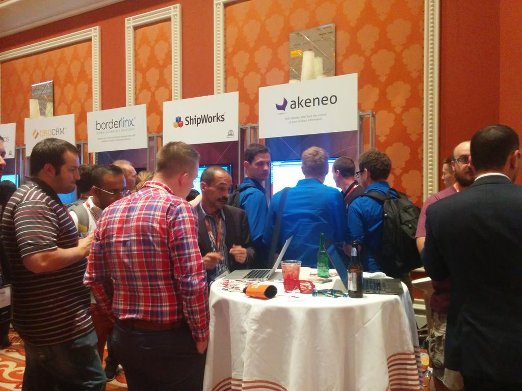 duponico: #akeneo #pim booth is full! 3 demo at a time :) #MagentoImagine http://t.co/CV0RJy5e7O