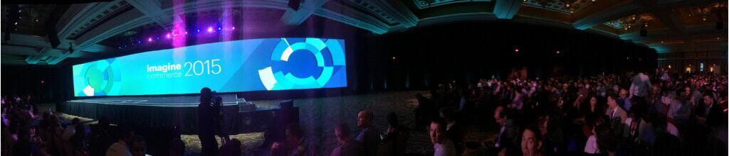 LagrangeSystems: Magento Keynote, probably the widest screen I've ever seen #Imagine2015 #ImagineCommerce #booth402 http://t.co/FjnEghfIsu