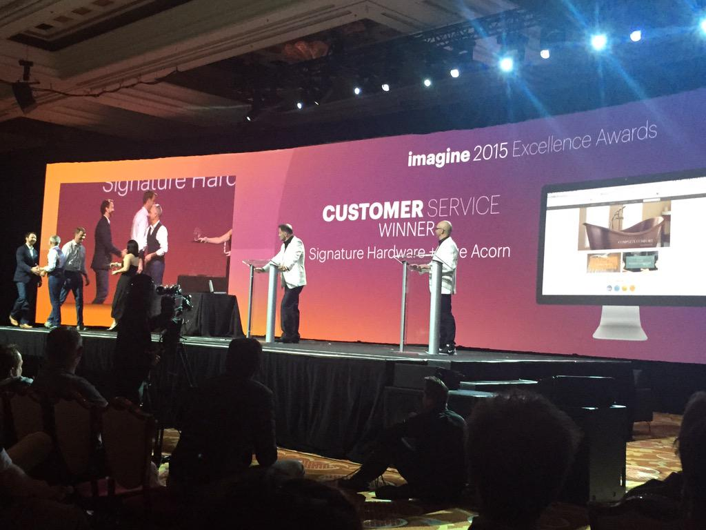 emily_allender: Magento excellence award for Customer service goes to @blueacorn client Signature Hardware!!! #ImagineCommerce http://t.co/fIR699gzur