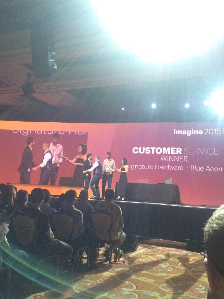 dotmailer: Congrads to our partner @blueacorn for winning Best Customer Service award with Signature Hardware #ImagineCommerce http://t.co/nkMkvkHCnd