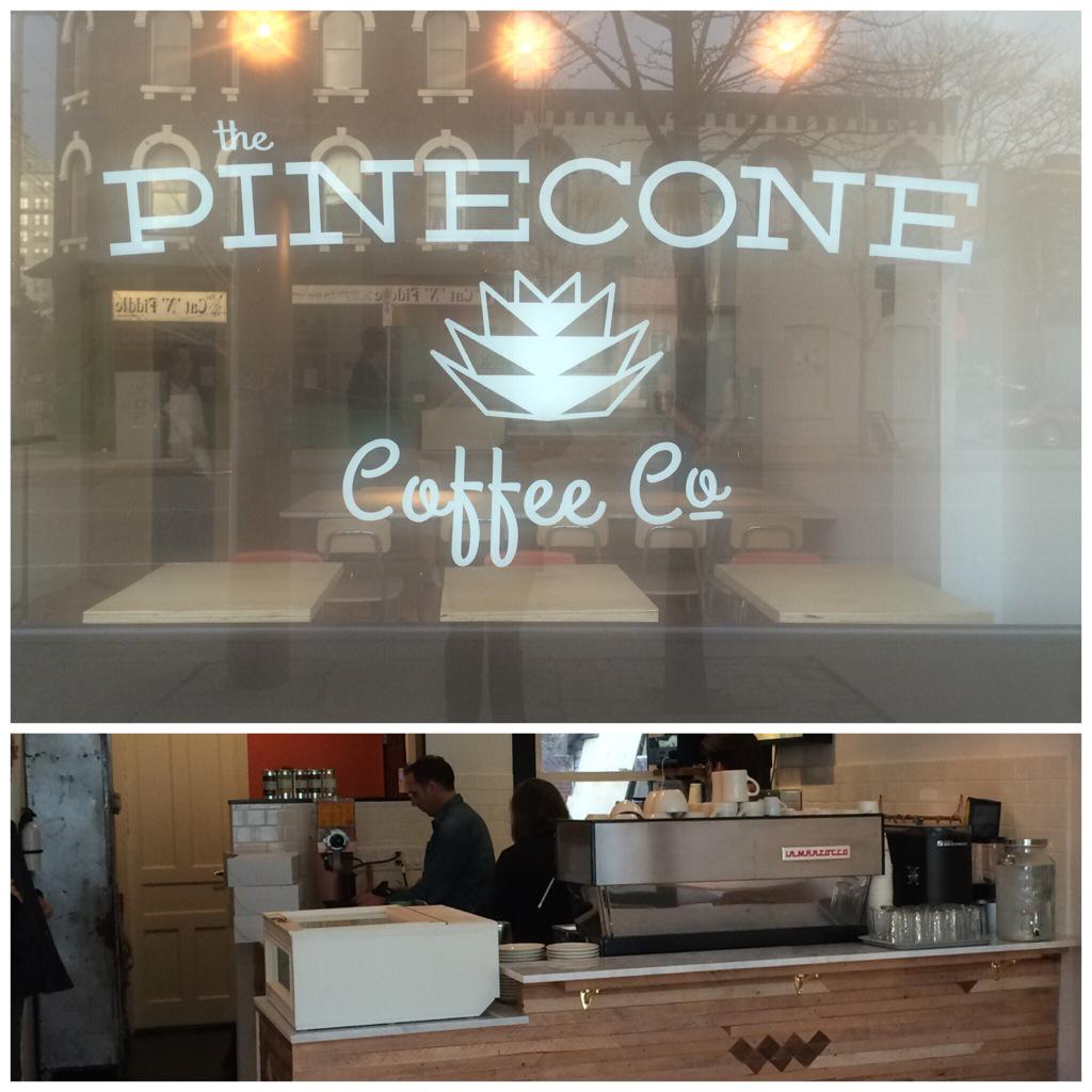 Lucky #hamont Pinecone Coffee Co. on John St South is now open+serving @philandseb coffee+our delicious baked goods! http://t.co/FJFoTtlB3m
