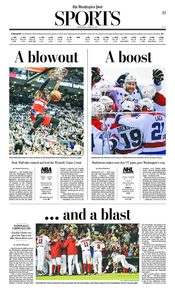 Phenomenal sports front from @PostSports after a big night for DC sports. #dcRising http://t.co/BMj5o2zhKq