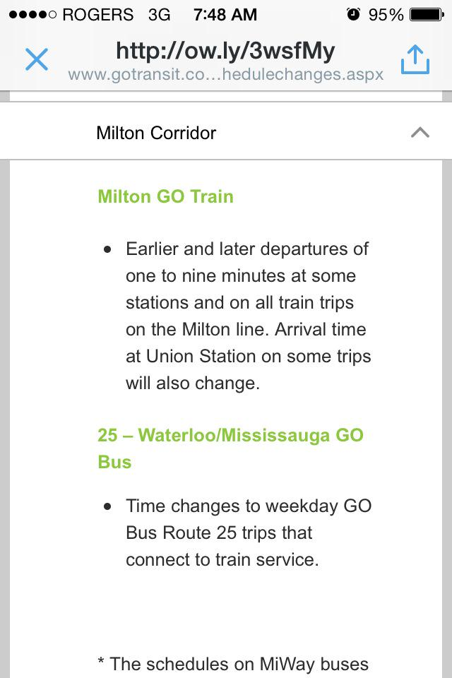 Milton go train arrival times