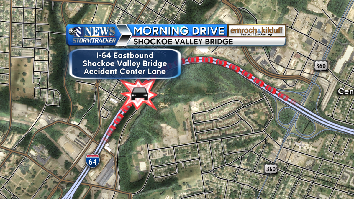Eastbound: *ACCIDENT* I-64 Eastbound   on the Shockoe Valley Bridge
