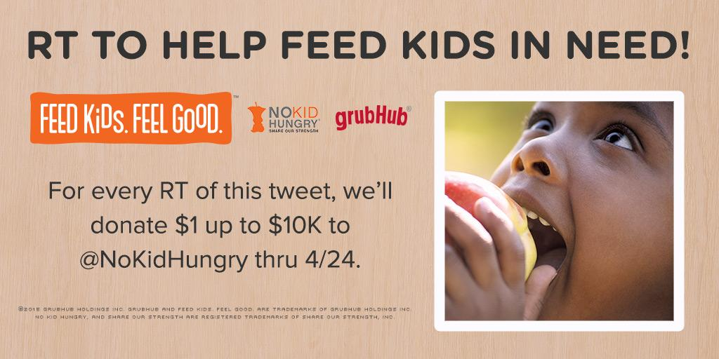 For every RT of this tweet, we'll donate $1 up to $10K to @NoKidHungry thru 4/24. Help feed kids in need! http://t.co/nFkhdeTcIS