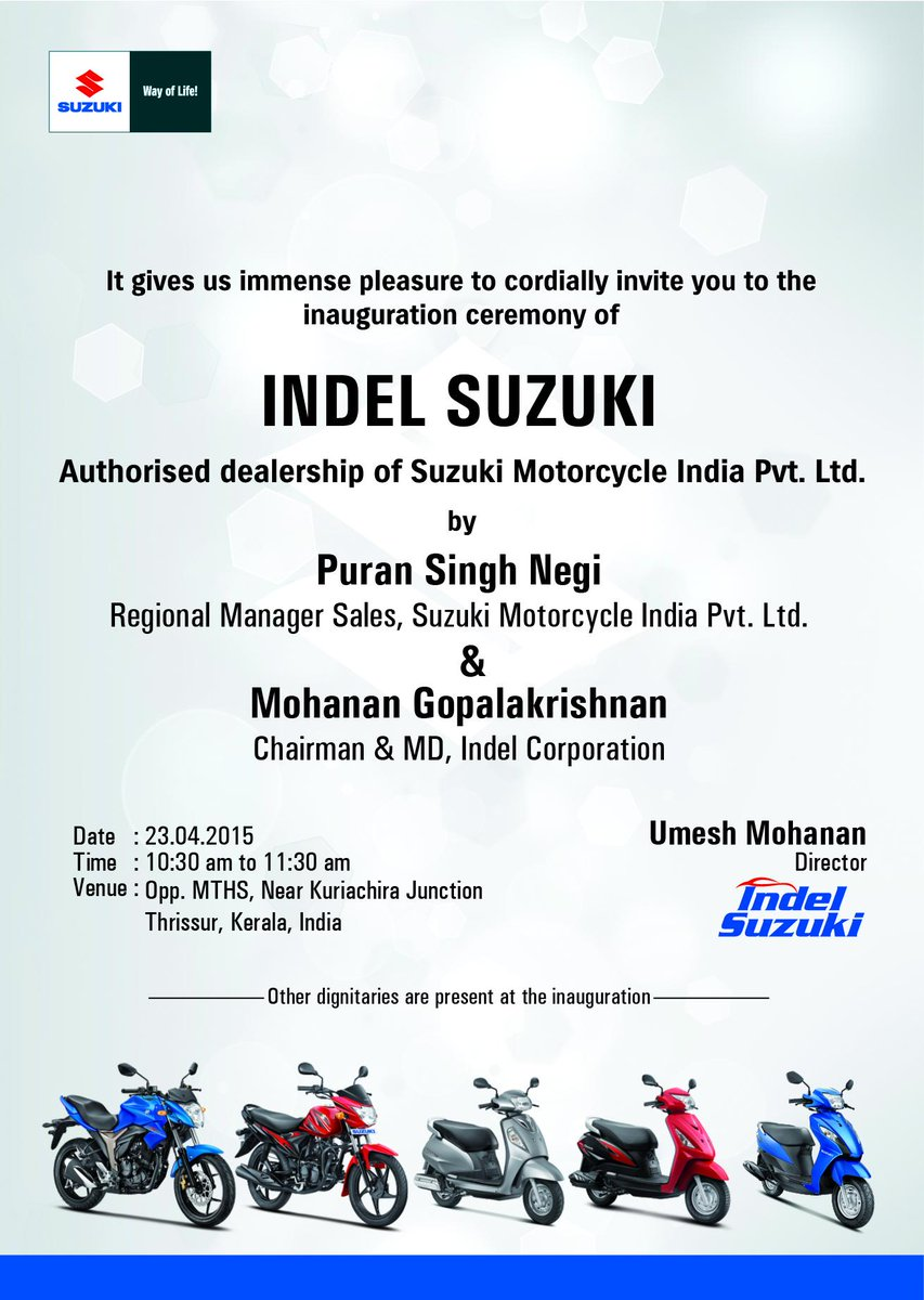 Indel Suzuki on Twitter It gives us immense pleasure to cordially