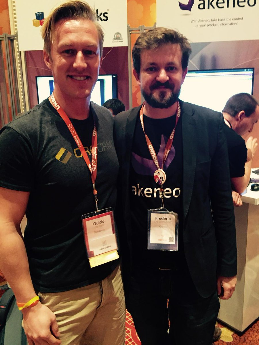 YoavKutner: . @guido and @FdeGombert representing 2 of my favorite applications @OroCRM  and @akeneopim @magento #imaginecommerce http://t.co/obqScD9Z0G