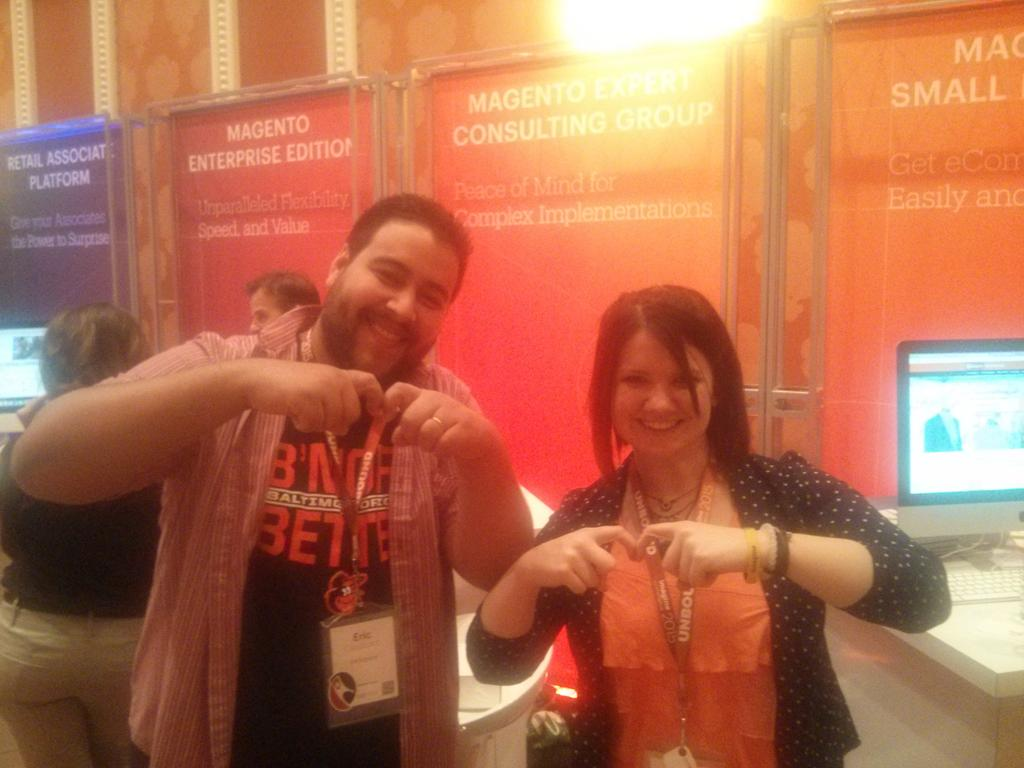 sherrierohde: Throwing the @Magento M with Eric, now that we finally met up! #realmagento #imaginecommerce http://t.co/nR0ZmyXwY5