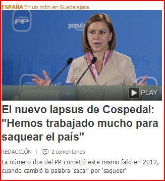 """Cospedal se sincera con los españoles, en un mitin en Guadalajara: """"""""Hemos trabajado mucho para saquear el país"""" http://t.co/dE0GUvXgQW"""