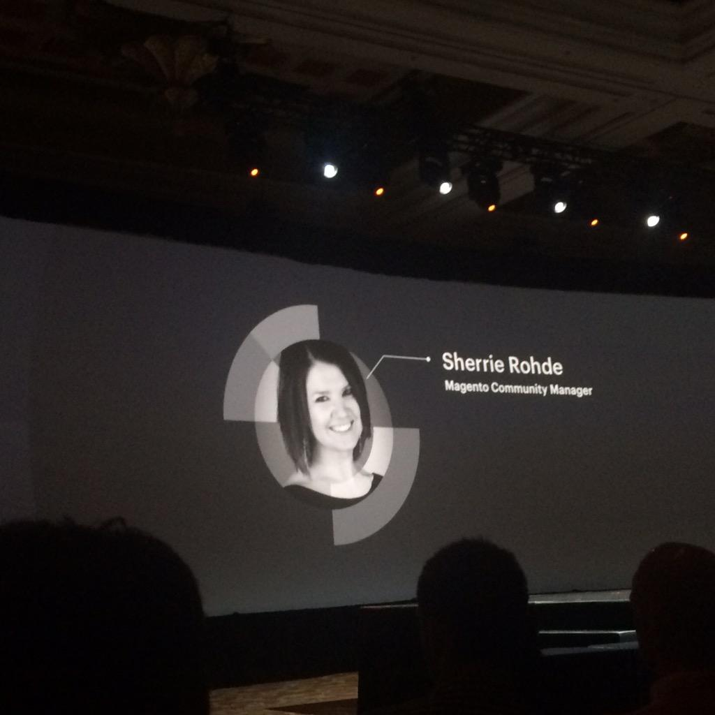 magentogirl: @sherrierohde the new community manager for Magento on the big screen at #ImagineCommerce http://t.co/Kn43EaRWtp