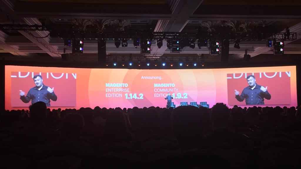 benmarks: We did it again! @ProductPaul announcing EE 1.14.2 available today, CE 1.9.2 available soon. #ImagineCommerce http://t.co/uwNCp1Kpj7