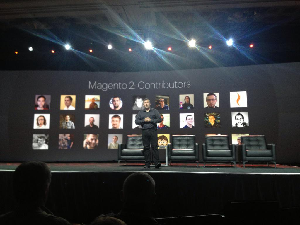 MagentoFeedle: Proud to see our MarkoTechyTalk on big screen at #ImagineCommerce keynote as one of top #Magento2 contributors http://t.co/0rVRW6V9wp via…