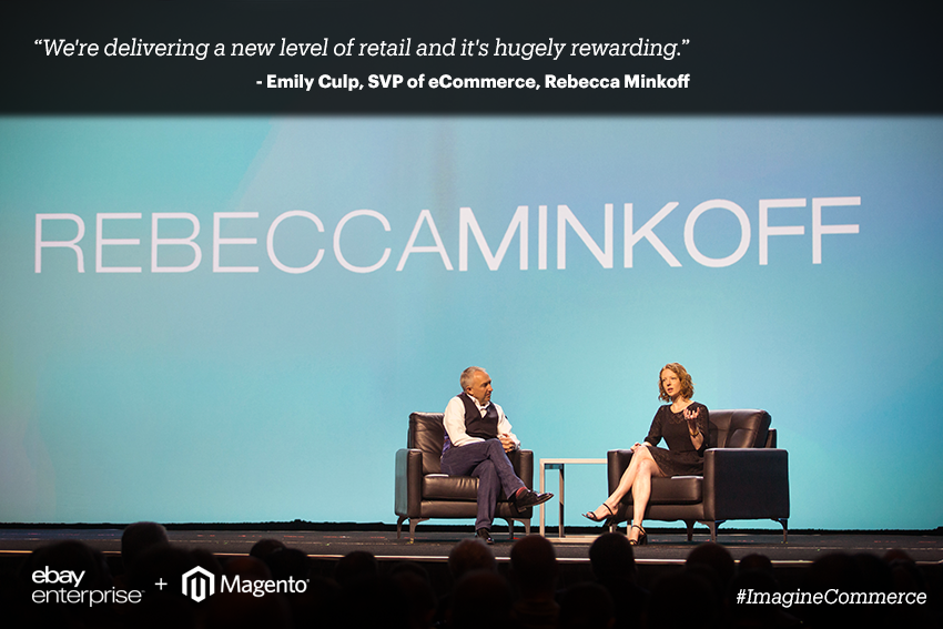 eBayEnterprise: Thank you @RebeccaMinkoff for sharing your innovation story with us on stage at #ImagineCommerce @emilyculp http://t.co/jCfjXxT1Pm