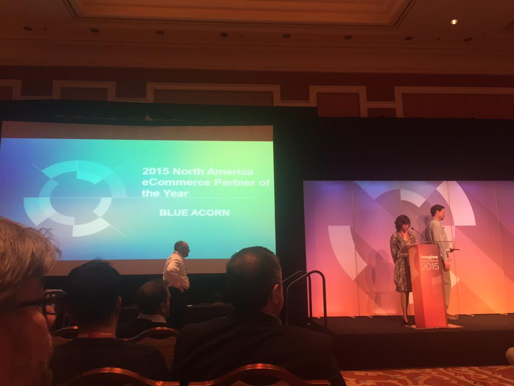 WebShopApps: 2015 North America Partner of the Year is @blueacorn  - well done @kpe and team, great job #ImagineCommerce http://t.co/W3TJBA77MK