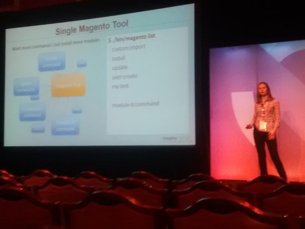 sandermangel: .@BuskaMuza talking about the new M2 cli tool. Easily extendable from other modules. #ImagineCommerce http://t.co/8NCvvhIUpk