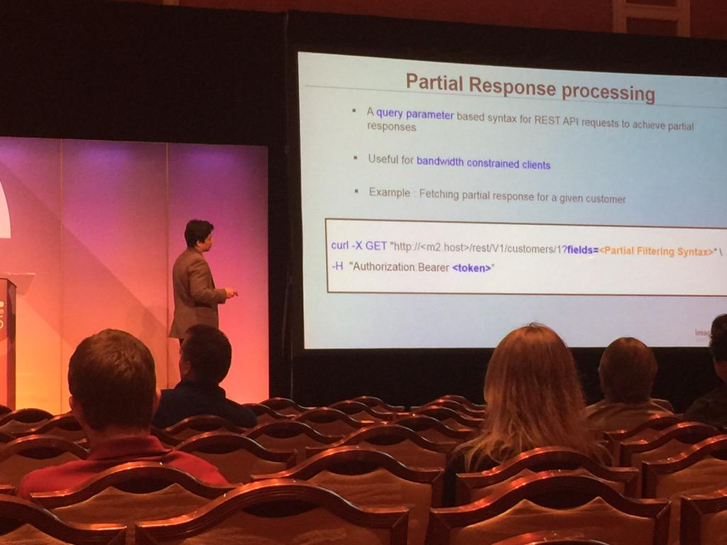 Blue_Bovine: #ImagineCommerce core Dev Anup Dugar rocks bar camp and details Apis in Magento 2! http://t.co/9kDfWv6clD