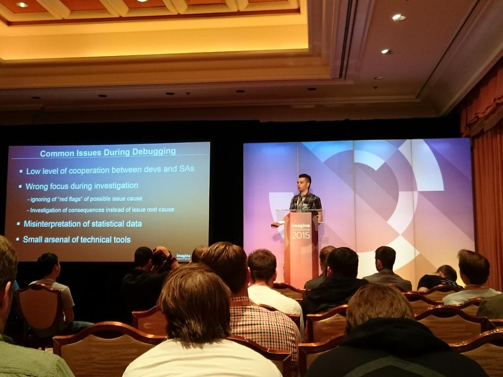 magento_rich: Andrey Abumuslimov from @magento Support, giving Bar Camp presentation on #Magento debugging. #ImagineCommerce http://t.co/doe8Lijycy