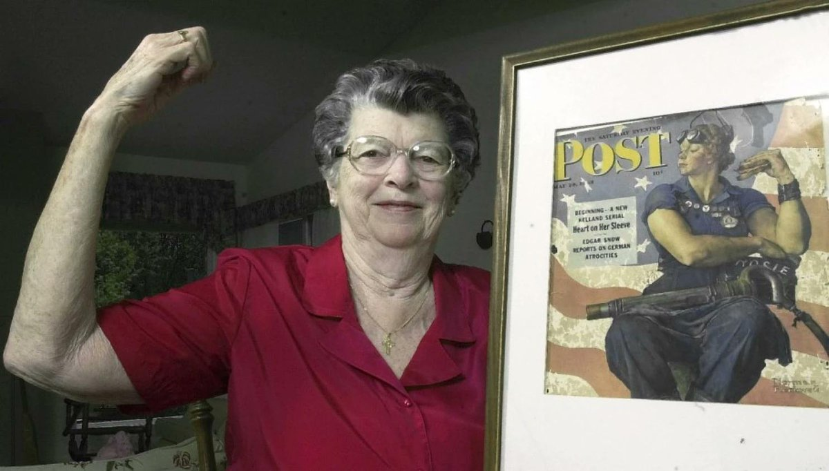 "Mary Doyle Keefe the model for Norman Rockwell painting, ""Rosie the Riveter"" died this week.  #RIP http://t.co/oj16dfBvuI"