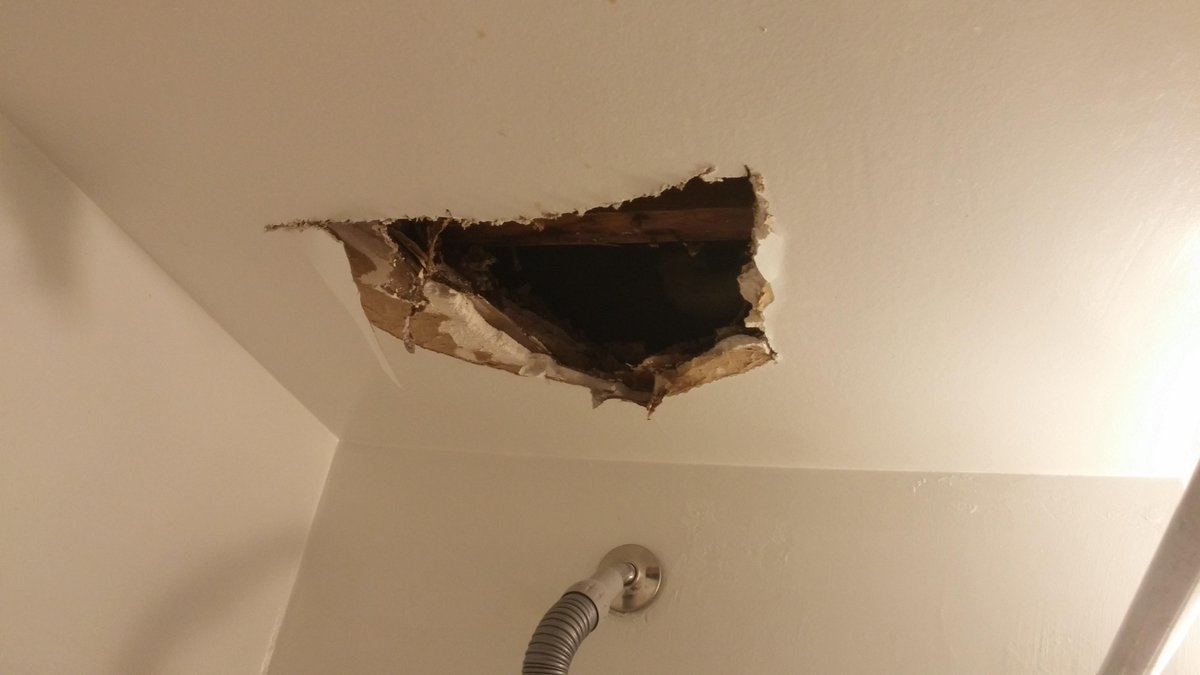 Shana L Mcdanold On Twitter There Is A Hole In My Ceiling Above My Shower Tub The Upstairs