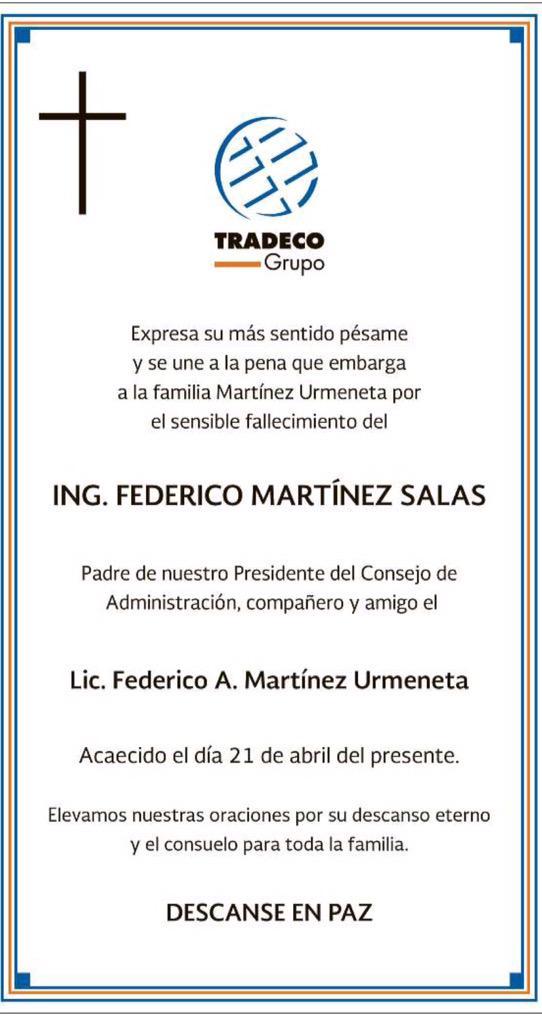 #AvisosParroquiales Falleció Don Federico Martínez Salas, padre de nuestro estimado Federico Martínez Urmeneta. QEPD