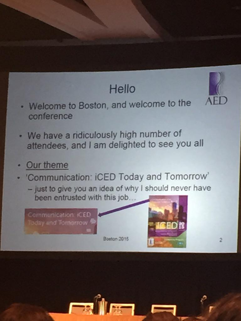 Starting out with a great welcome from AED President Glenn Waller. #ICED2015 http://t.co/oqdAUCxVmg