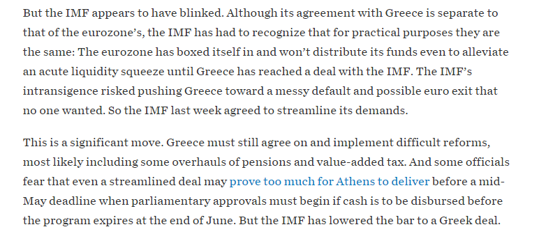 WSJ's Simon Nixon argues IMF blinked, watered down reform demands,& backed away from being held responsible 4Grexit. http://t.co/t8EPeZdOXQ