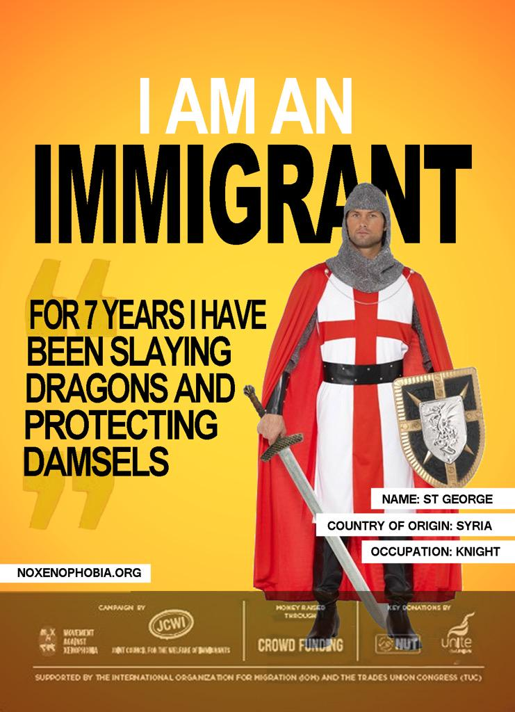 I'm loving this I Am An Immigrant poster campaign #StGeorgesDay #ProudToBeEnglish  (Ta @Ross_Owen) http://t.co/Z4hDhfbDv1