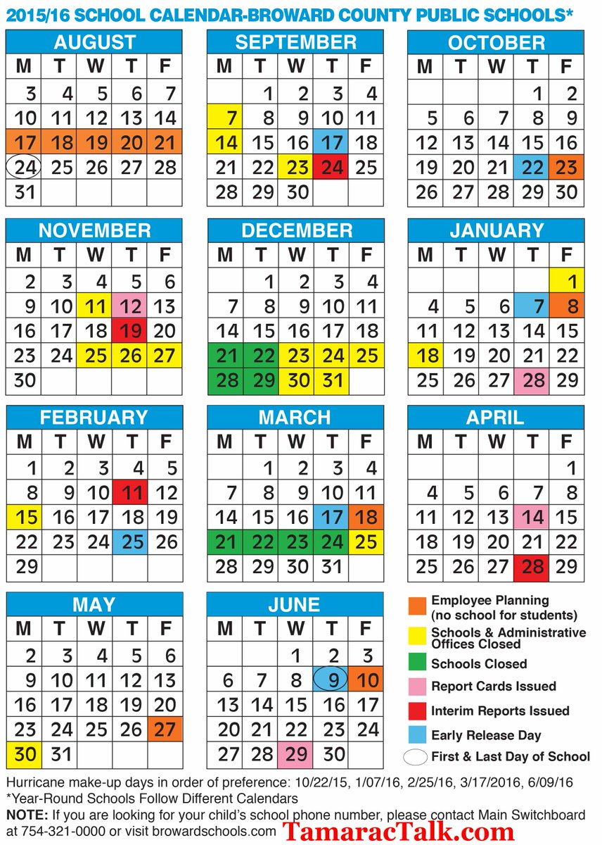 School Calendar 2019 2016 Tamarac Talk on Twitter: