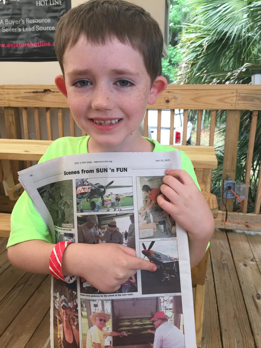 My son made the SUN 'n FUN Today newspaper produced by @genavnews at @SunnFunFlyIn. #SnF15 http://t.co/vWM6Q8tuOD