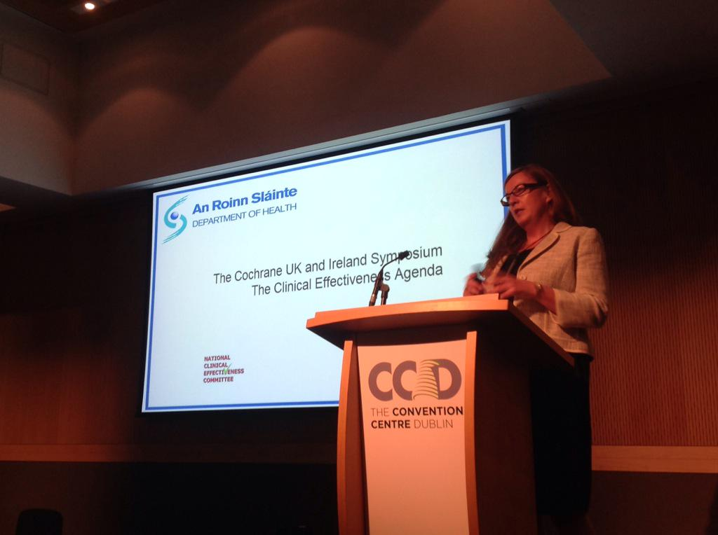 Next up Dr Kathleen Mac Lennan, Director of Clinical Effectiveness at the DoH Ireland #CochraneAdvocate http://t.co/jYj8wdYh5t