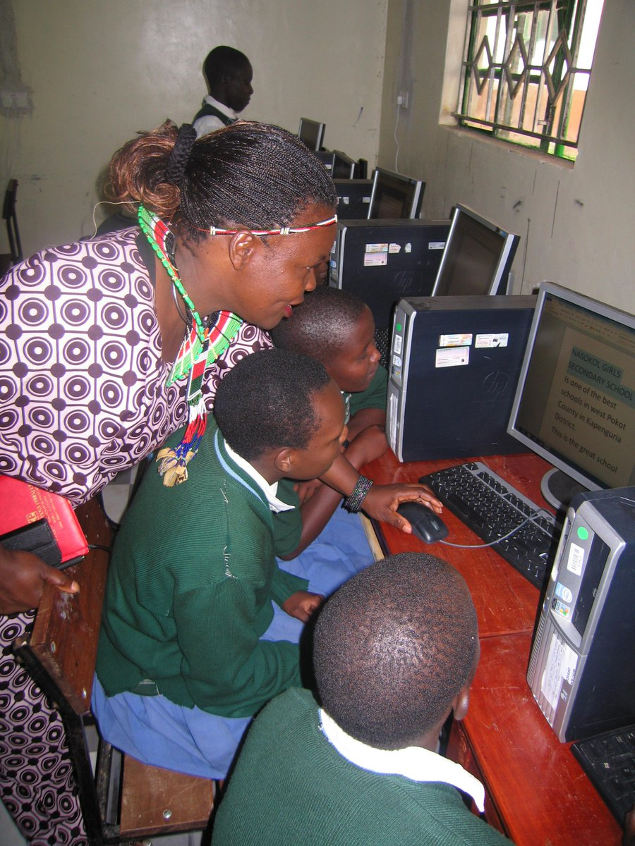 It's #GirlsinICT Day! Check this lovely picture from Nasakol Girls School's PC lab that we set up last summer! #tbt http://t.co/JJg3b3KW4t