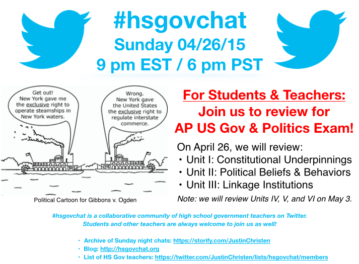 Thumbnail for #hsgovchat (04/26/15): AP Gov Review of Units I, II, & III