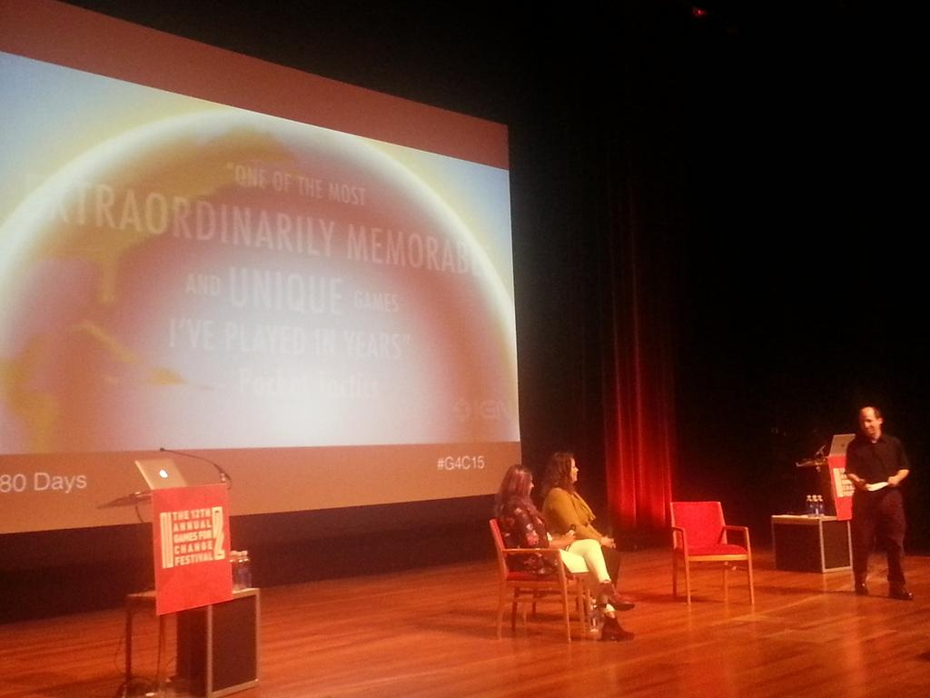 Amy Freedeen @NeverAloneGame & @betterthemask #80Days use games to reclaim agency for marginalized voices. #G4C15 -AH