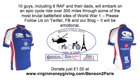 RT @ryanmorris100: @carolvorders RAF Lads and Dads cycling #Benson2Paris 5 weeks from today.  Would love support and RT? http://t.co/IQEWjJ…