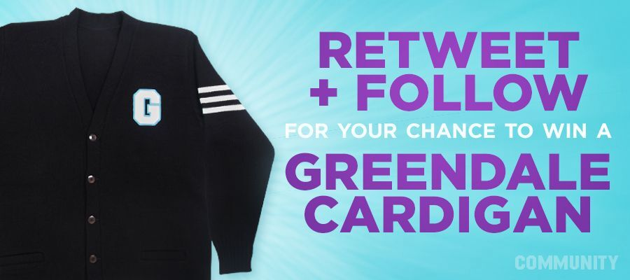 Want the chance to win a Community Cardigan?  1. Follow @CommunityTV 2. Retweet this.   Rules: http://t.co/zGtgjqDv8j http://t.co/GzPSoKUY2p
