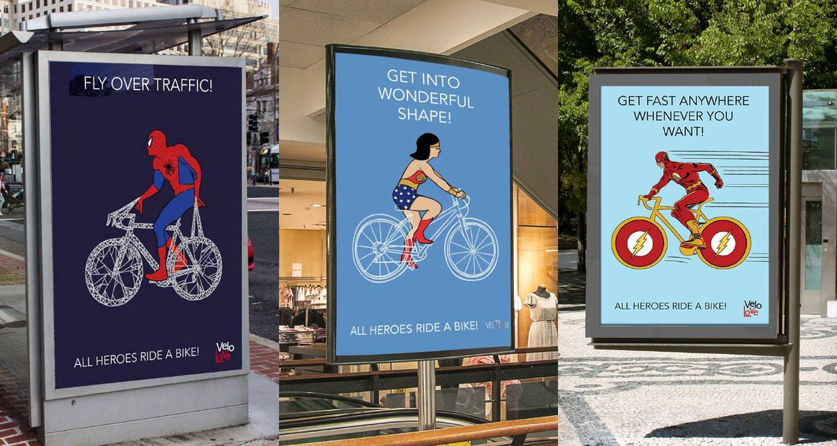 Superheroes ride bikes. Nice #campaign by VeloLove & art students of Nuova Accademia di Belle Arti. via @AninaFlury http://t.co/9Lf0U0r1QF