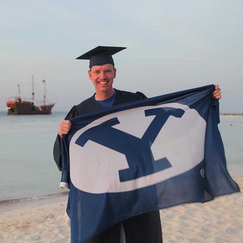 I'm celebrating tonight's graduation from the beautiful beaches of Cancun! #BYUgrad #ForgotTheTassel http://t.co/qRdbfMfeDz