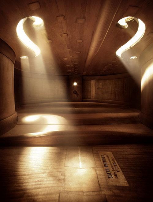 コントラバスの中。弦楽器とはまさに「美しい木造の構築物」なのだ。 PHOTOS:MIERSWA & KLUSKA http://t.co/HVYIcVmAD2