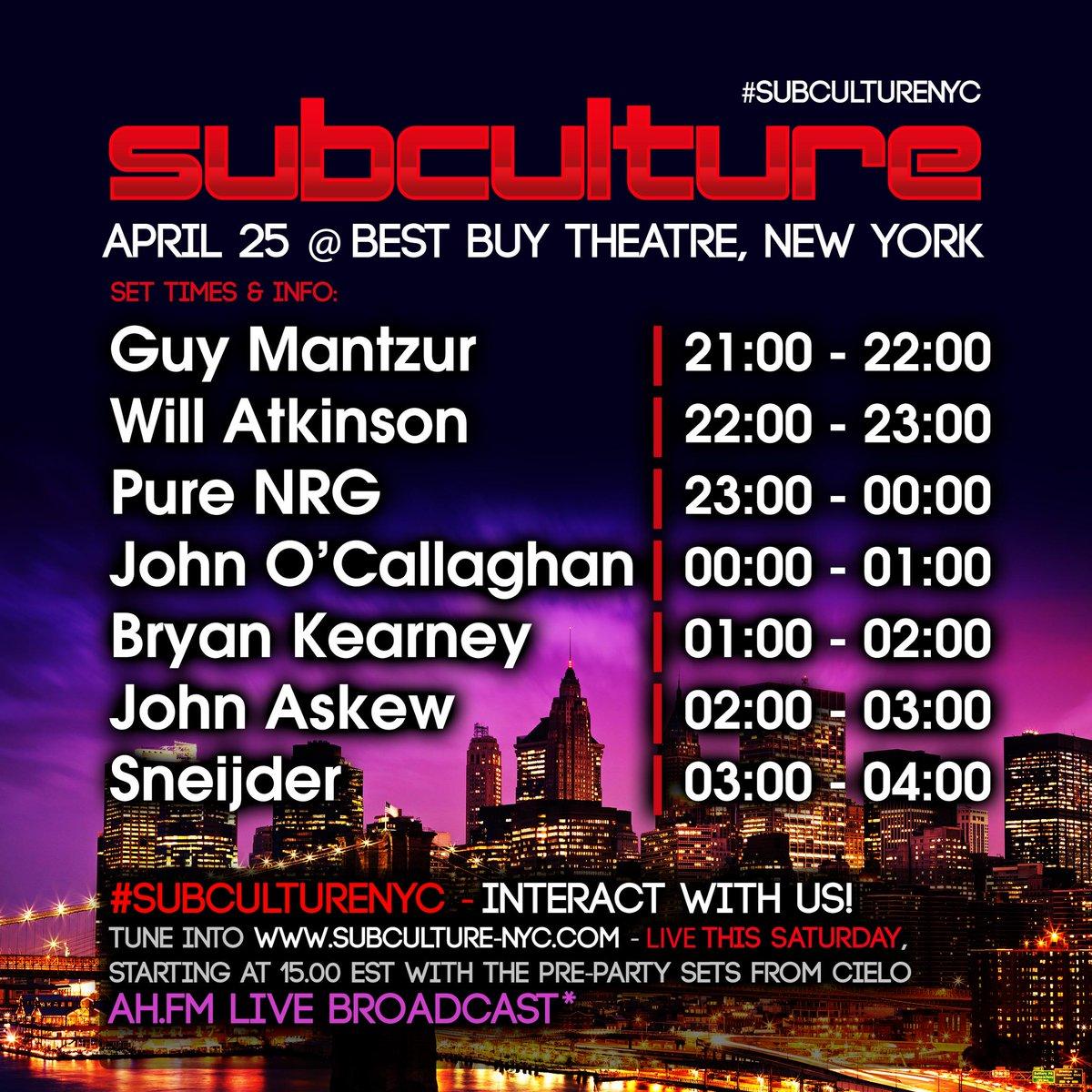 Tomorrow Live from NYC #SubcultureNYC with @SubcultureJOC @bryankearney @SneijderMusic @djjohnaskew @willatkinsonyes http://t.co/xGef2W4IYD