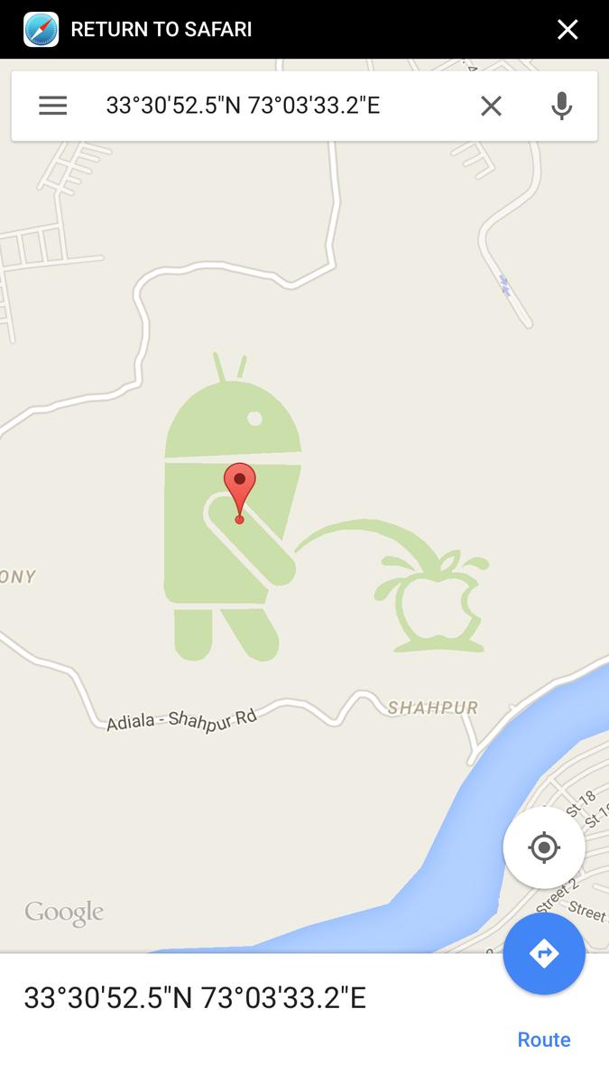 https://t.co/QIlvbWFqGB 안드로이드가 애플에게 오줌 싸는 구글 지도 위치. 정말이네 ㅋㅋ http://t.co/mATst1QKIl