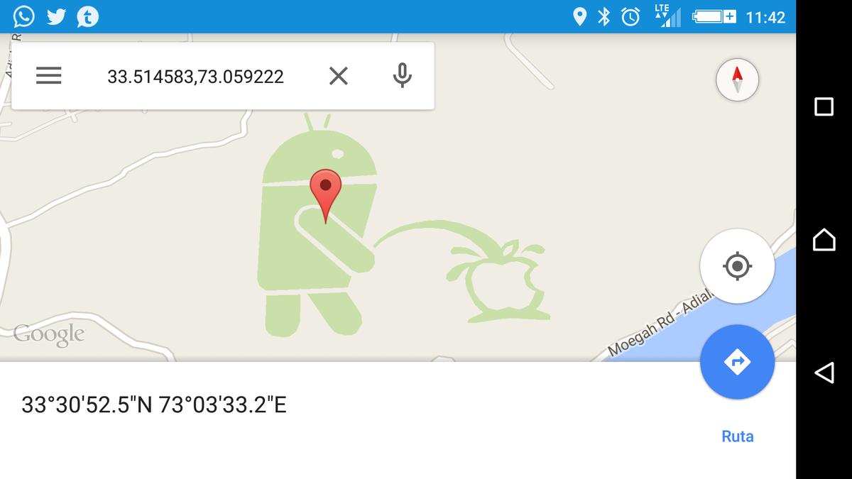 Encuentran a Android orinando sobre el logo de Apple en Google Maps