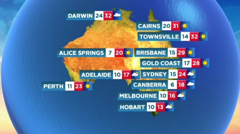 Weather Chance Of Showers For Parts Australia Today Sunny Top 29