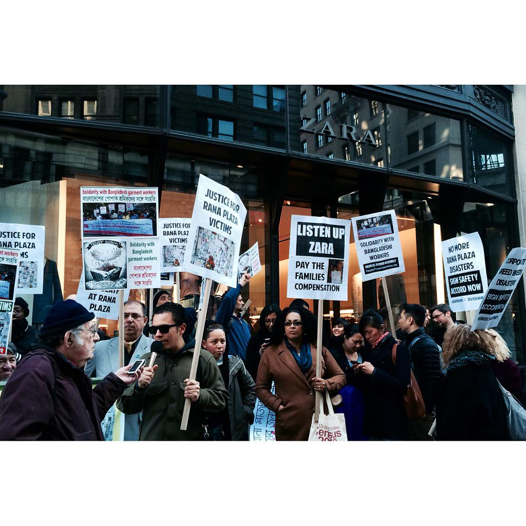 Action happening now at #Zara #NYC urging the company to pay full & fair compensation to the victims of #RanaPlaza http://t.co/SfRidGPXx4