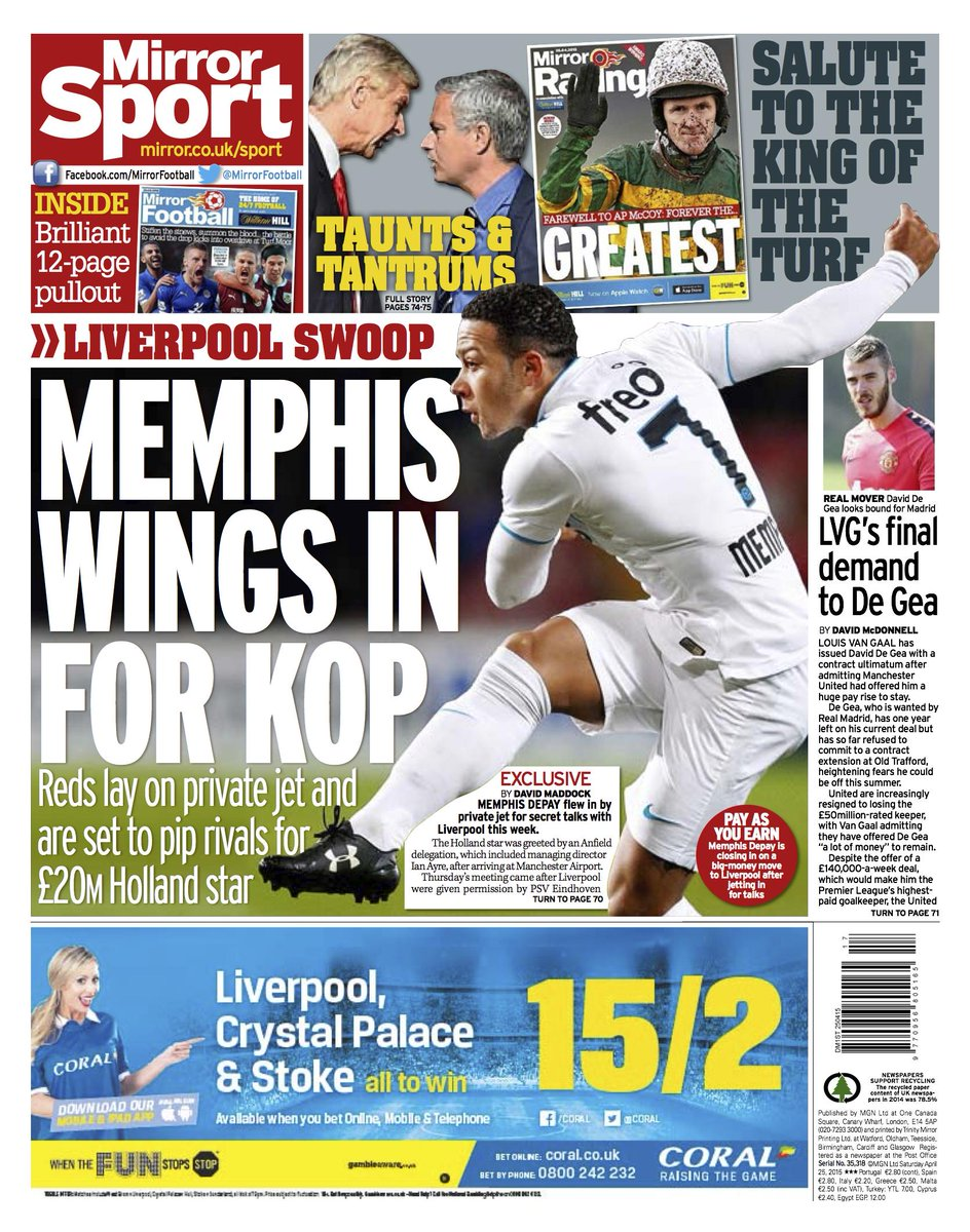 Memphis depay met with liverpool before man united reds for Mirror liverpool